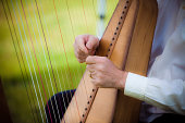 Man playing the harp at an outdoor wedding ceremony.