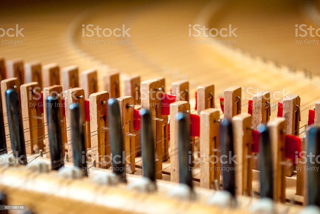 Harpsichord from the inside stock photo