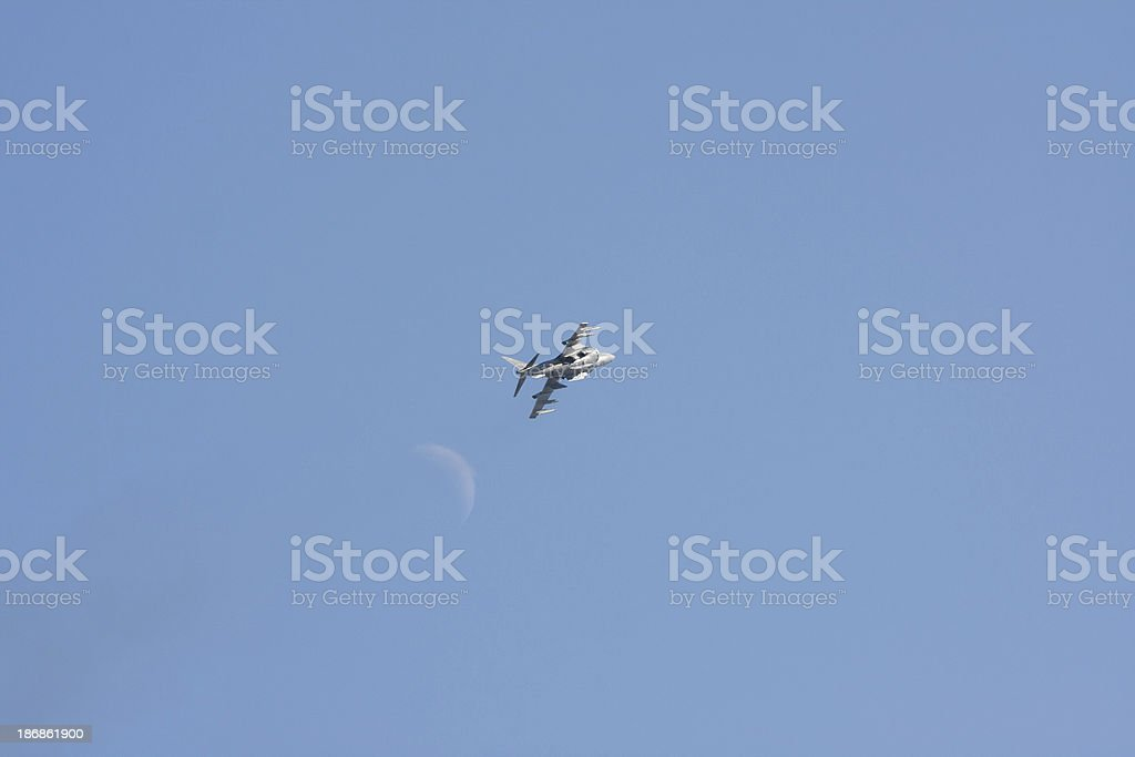 Harrier And The Moon stock photo
