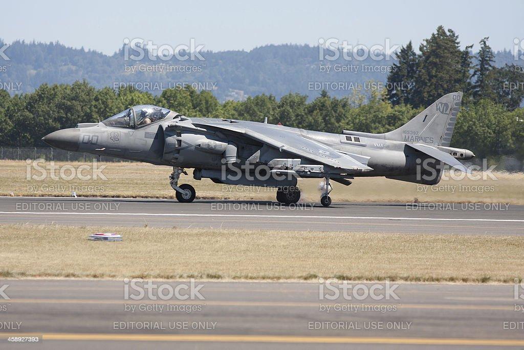 Harrier AV-8B Jet Ready for Takeoff royalty-free stock photo