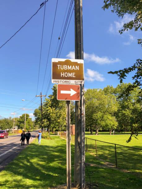 Harriet Tubman Historic Site sign stock photo