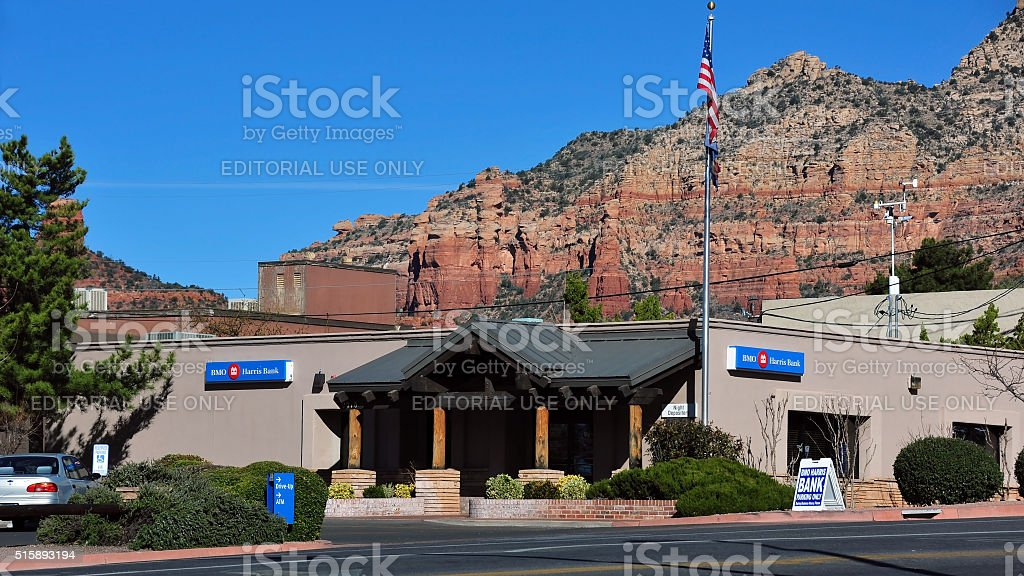 BMO Harris Bank in Sedona, AZ stock photo