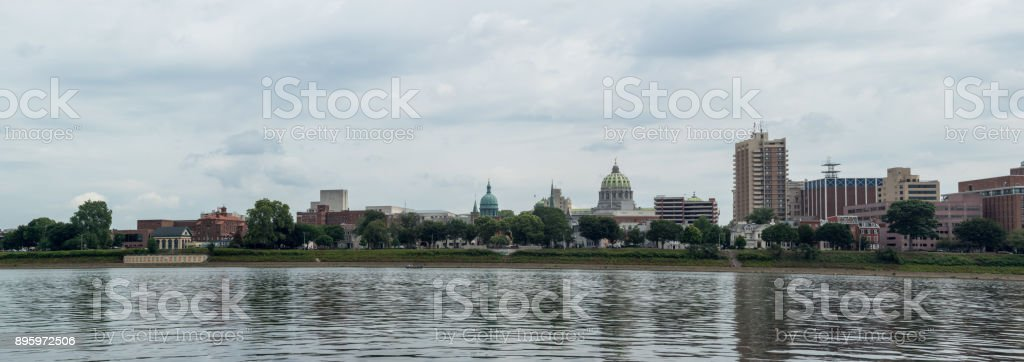 Harrisburg from Across the Susquehanna River stock photo