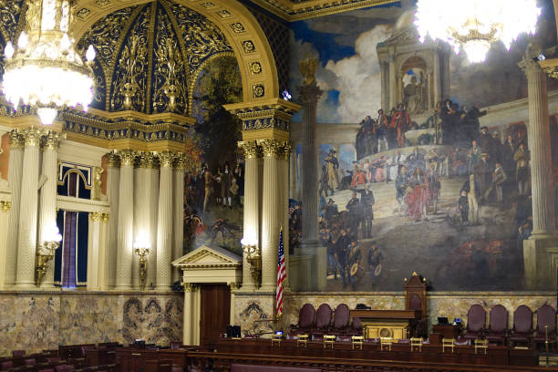 Harrisburg, PA, USA - December, 19, 2016; Interior view on a part of the rear wall of the House of Representatives at the State Capitol in Harrisburg, Pennsylvania. stock photo