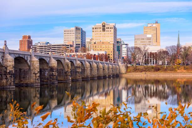 Harrisburg, Pennsylvania, USA skyline on the Susquehanna River stock photo