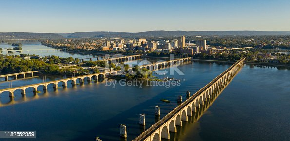 Morning light hits the buildings and bridges downtown city center area in Pennsylvania state capital at Harrisburg