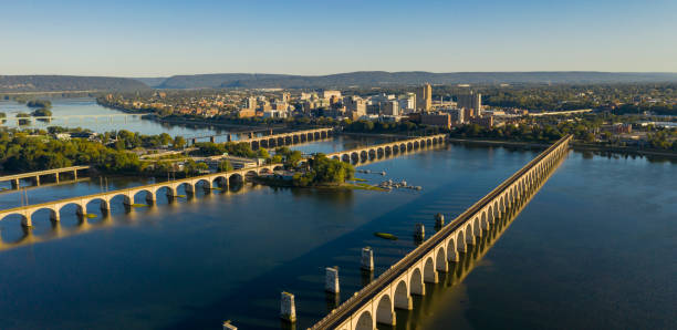 Harrisburg state capital of Pennsylvania along on the Susquehanna River stock photo