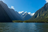 Harrison Cove with Mt Pembroke and Pembroke Glacier on the background, Fiordland National Park, Milford Sound, South Island, New Zealand.