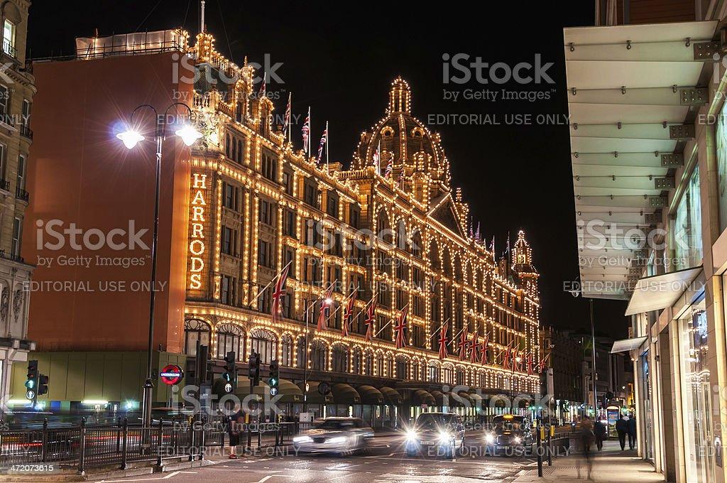 Harrods at night in London stock photo