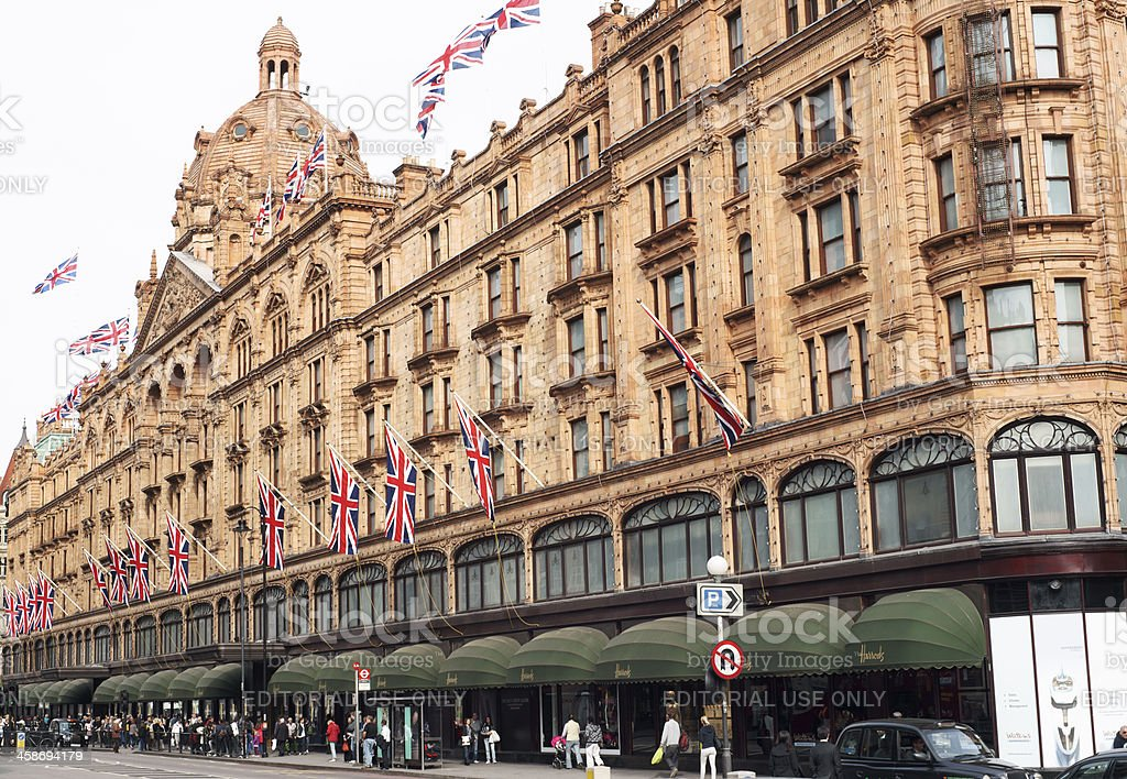 Harrods building in London stock photo