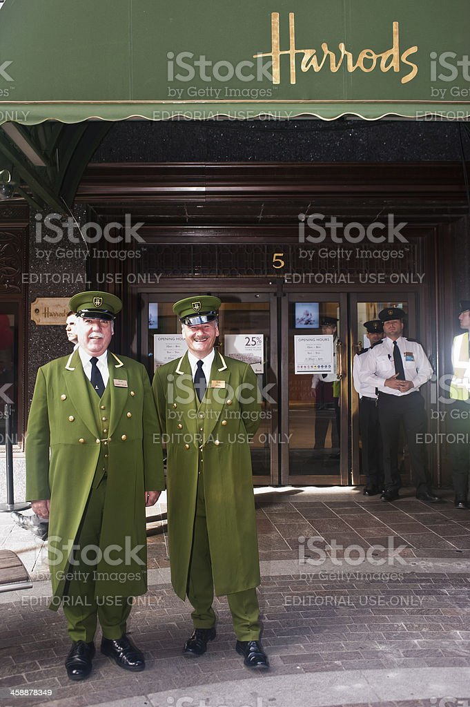 Harrods concierges in London stock photo