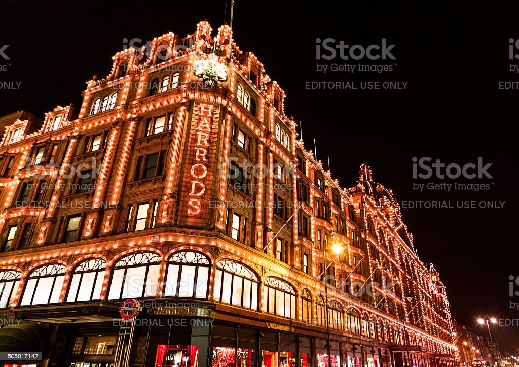 Harrods department store at Christmas, Kensington, London, UK stock photo