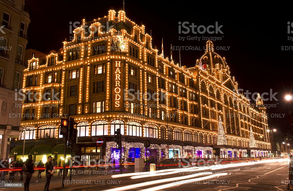 Harrods department store at night, Christmas, London stock photo