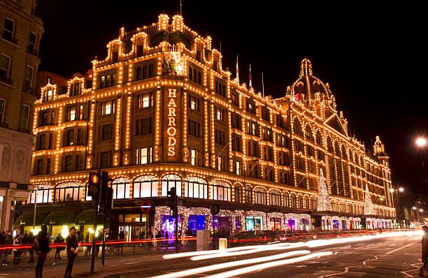 Kaufhaus Harrods bei Nacht, Weihnachten, London – Foto