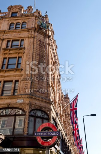 1125782554 istock photo Harrods department store, decorated with Union Jack flags, London 458941971