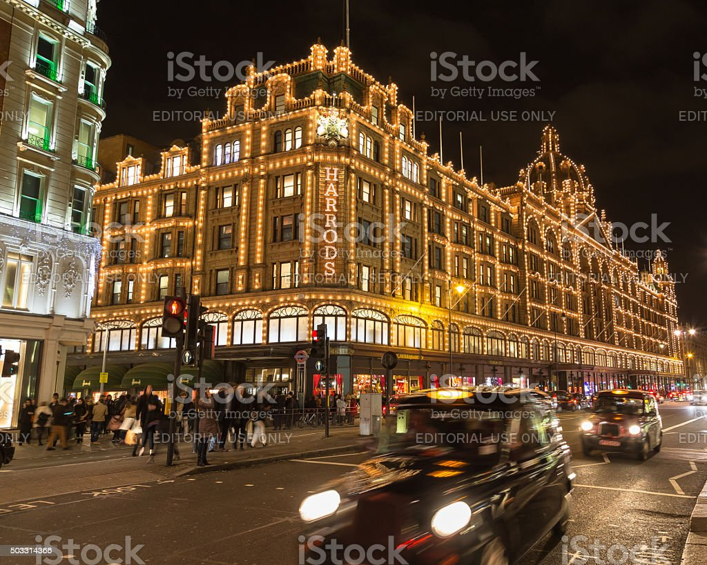 Harrods in Knightsbridge at Christmas stock photo