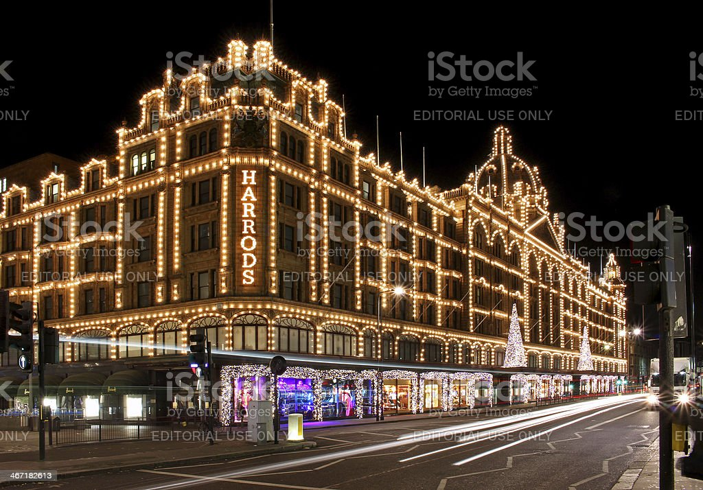 Harrods night stock photo