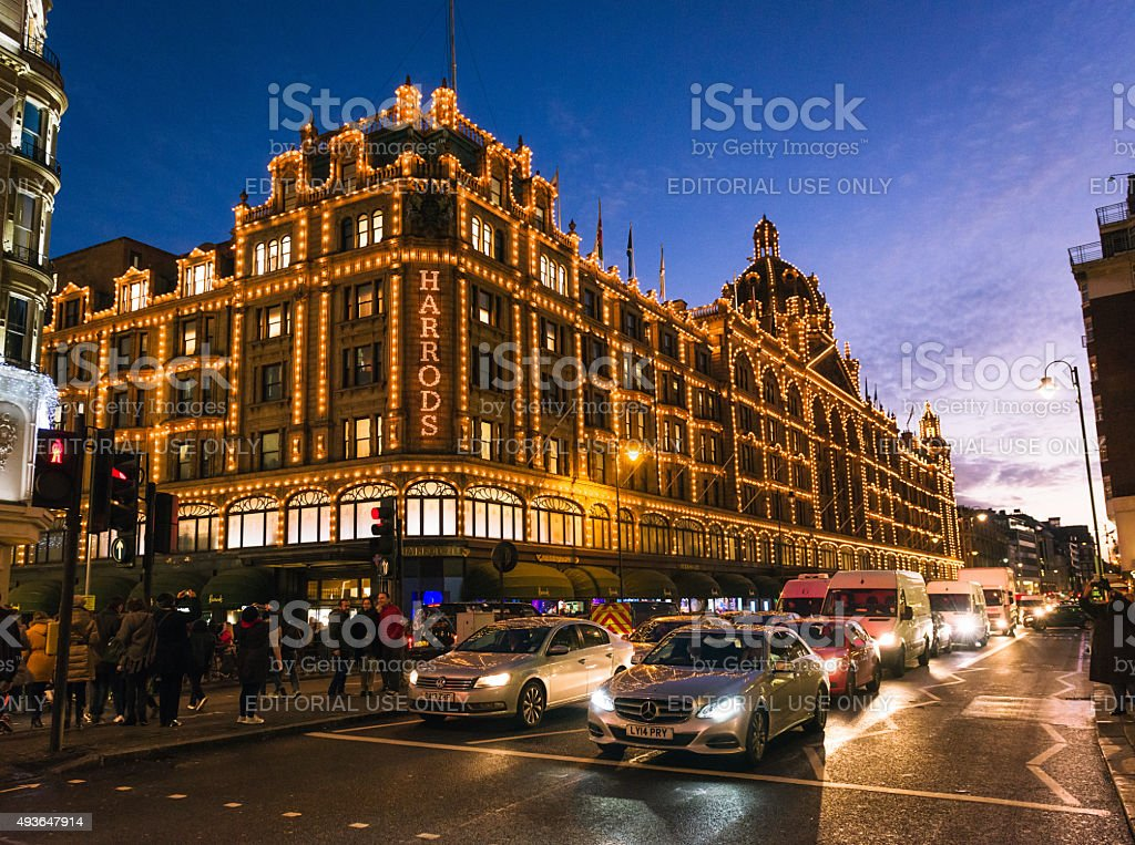 Harrods of London, illuminated at night stock photo