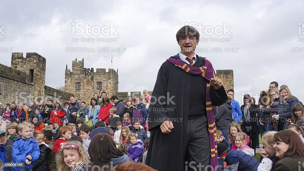 Harry Potter actor at Alnwick castle stock photo