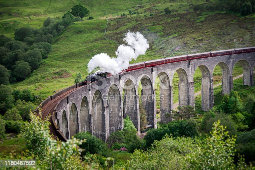 Steam train travels over the Glenfinnan Viaduct in Scotland