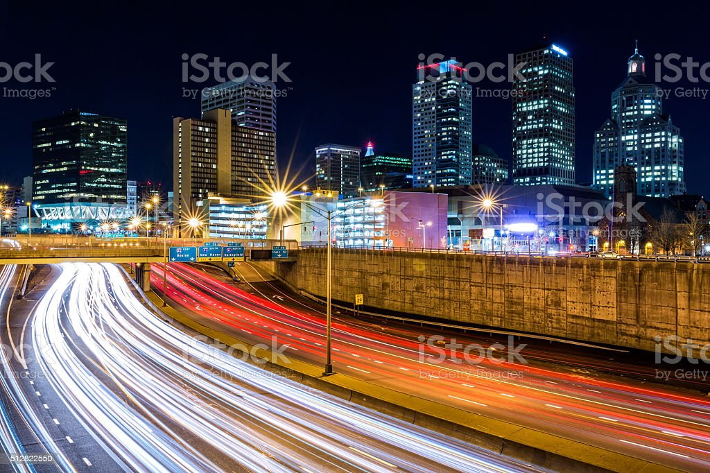 Hartford skyline by night stock photo