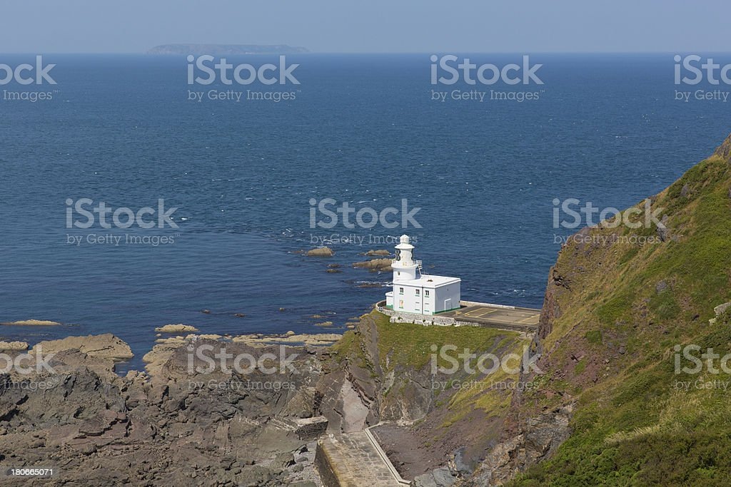 Hartland Point lighthouse near Clovelly Devon England stock photo