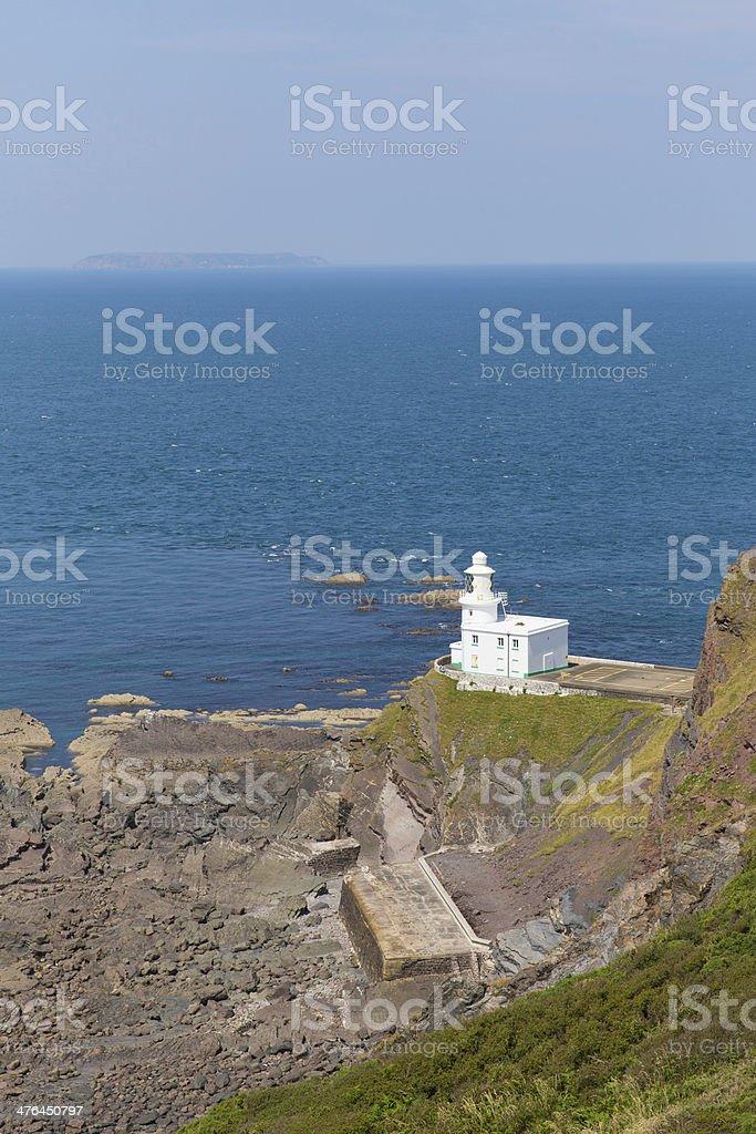 Hartland Point lighthouse near Clovelly Devon England royalty-free stock photo