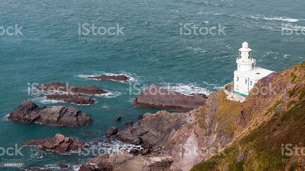 Hartland Point Lighthouse stock photo