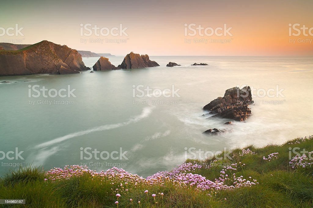 Hartland Quay Sunset, North Devon, U.K stock photo