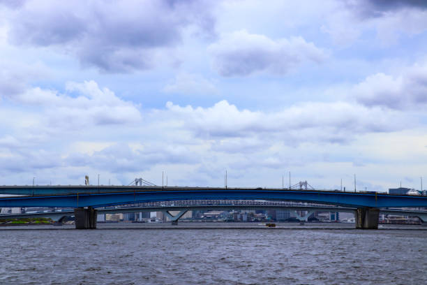 Harumi canal viewed from the Toyosu side1 stock photo
