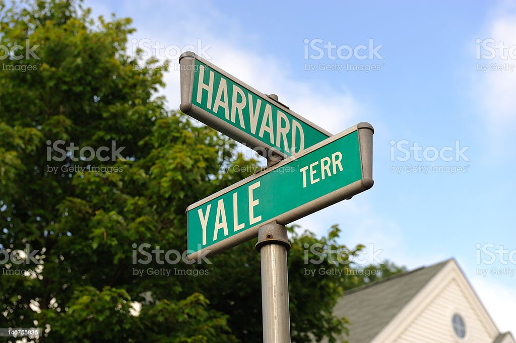 Harvard and Yale Road signs for Harvard and Yale. Harvard University Stock Photo