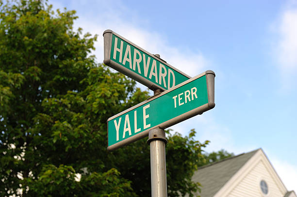 Harvard and Yale Road signs for Harvard and Yale. harvard university stock pictures, royalty-free photos & images