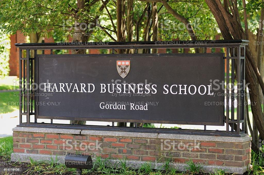 Harvard Business School Gordon Road sign stock photo