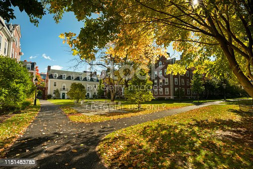 Boston, Massachusetts, USA - October 18, 2018:  Chase Hall student dormitory building in Cambridge Massachusetts USA.  Harvard Business School (HBS) is the graduate business school of Harvard University in Boston, Massachusetts, United States. The school offers a large full-time MBA program, doctoral programs, HBX and many executive education programs. It owns Harvard Business Publishing, which publishes business books, leadership articles, online management tools for corporate learning, case studies and the monthly Harvard Business Review.