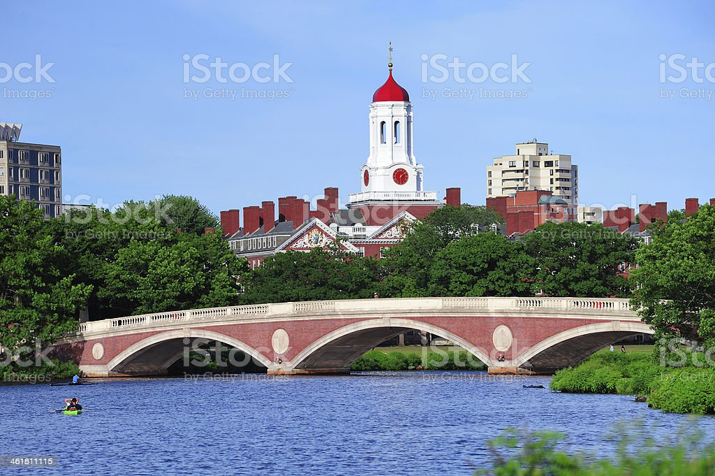 Harvard campus over Charles River stock photo