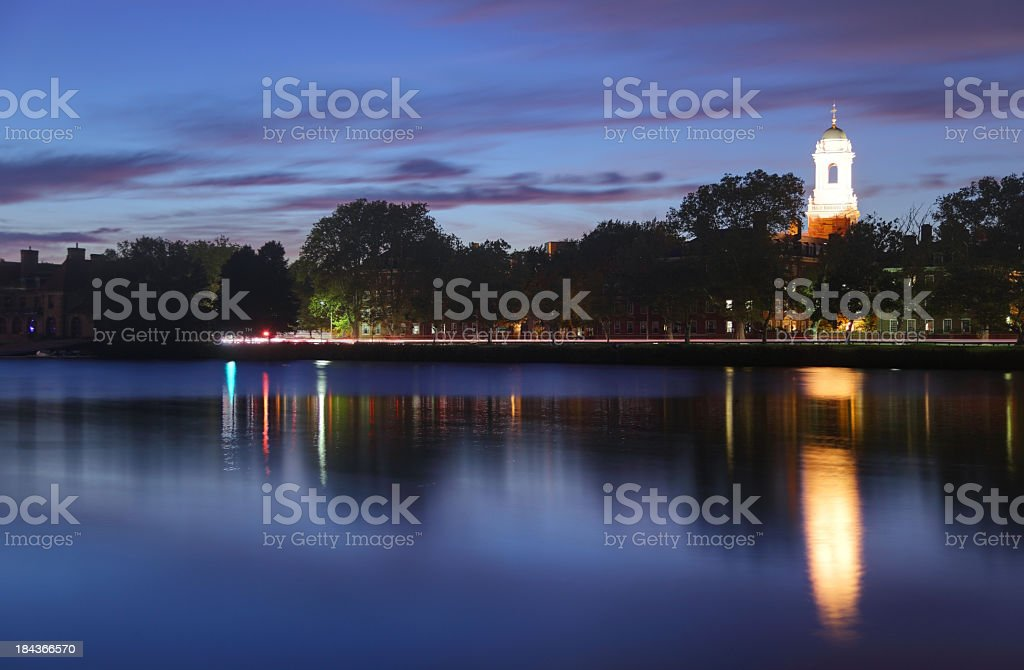 Harvard reflecting on the Charles royalty-free stock photo