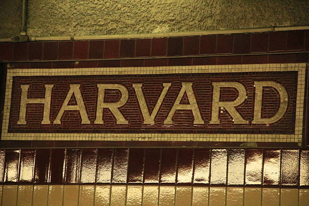 Harvard sign in tile Harvard  T stop in tile near the famed university harvard university stock pictures, royalty-free photos & images