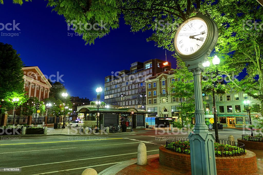 Harvard Square Cambridge, Massachusetts stock photo