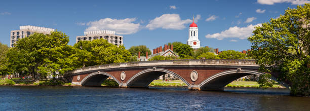 Harvard University panorama in Boston USA The dome of Harvard University's Dunster House and John W. Weeks Bridge over Charles River in Cambridge Massachusetts USA harvard university stock pictures, royalty-free photos & images