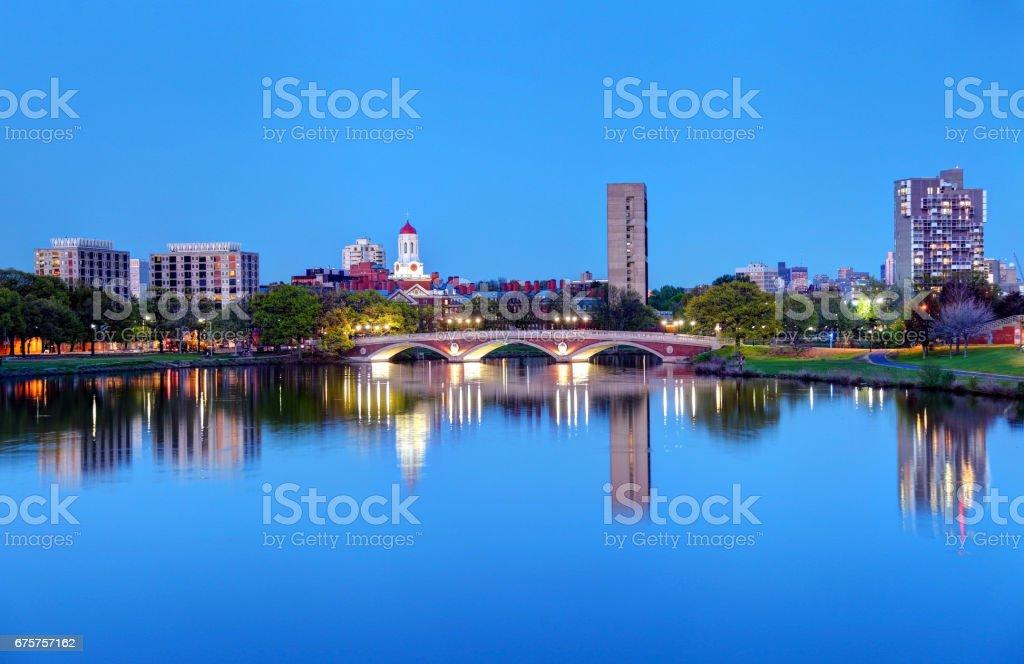 Harvard University reflecting on the Charles River stock photo