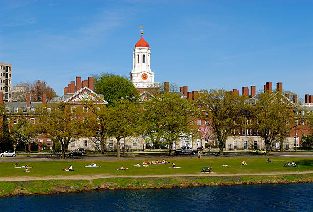 Harvard University Students relaxing along Charles River Spring view of Harvard University students relaxing on grass between Charles River and Dunster House harvard university stock pictures, royalty-free photos & images