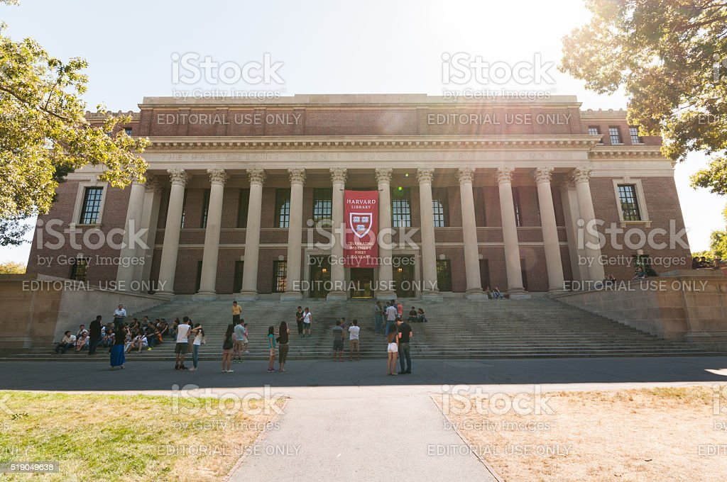 Harvard Widener Library Boston, Massachusetts, USA - September 5, 2015: Picture of the Harvard Widener Library on Harvard Campus in Cambridge, one of the most famous university's libraries. Blue Stock Photo