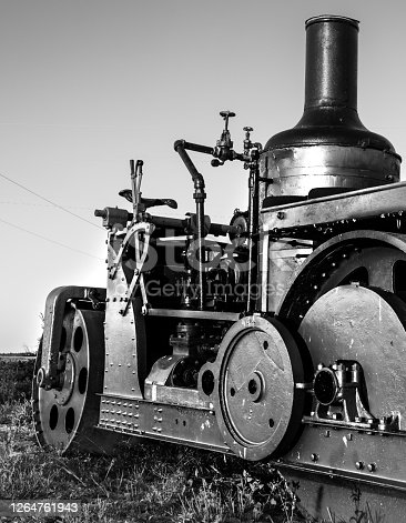 An antique tractor.