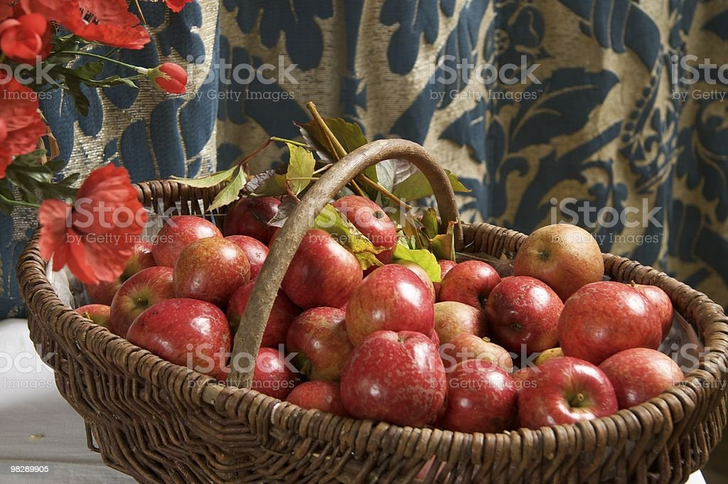 Harvest apples in a country church royalty-free stock photo