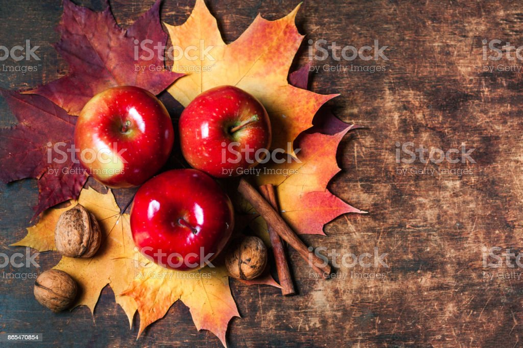 Harvest Background with red ripe apples and marple leaves on wooden table with copy space. Thanksgiving day or seasonal autumnal concept stock photo