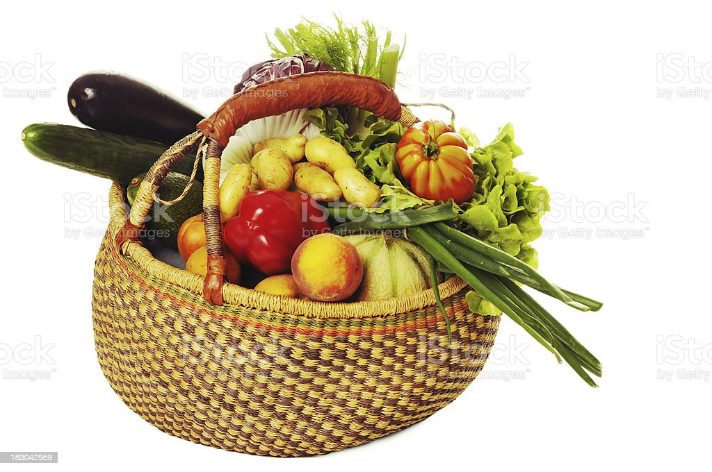 harvest basket of fruit and vegetables royalty-free stock photo