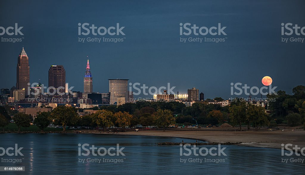 Harvest Moon Over Cleveland stock photo