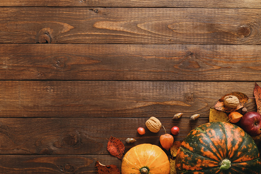istock Harvest or Thanksgiving background with pumpkins, dried fall leaves, apples, red berries, walnuts on wooden table. Flat lay composition, top view, copy space 1173588744
