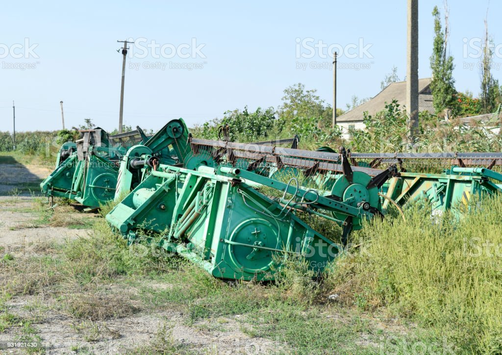 Harvest part of combine harvester stock photo