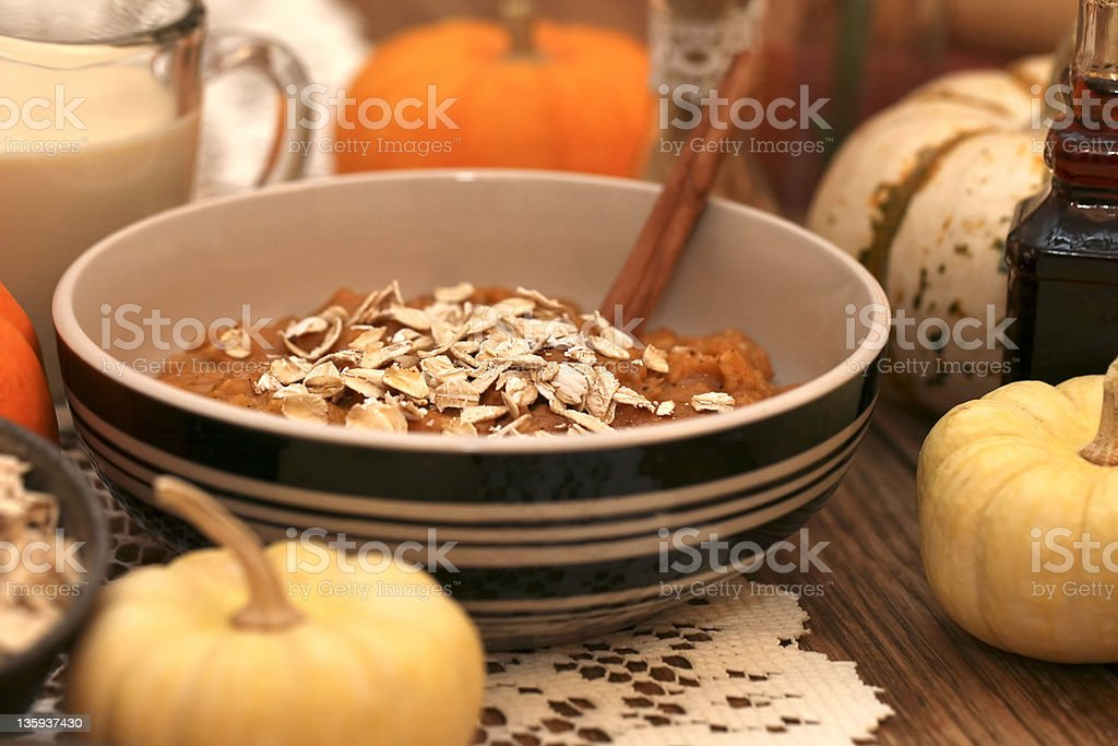Harvest Pumpkin Oatmeal Close royalty-free stock photo